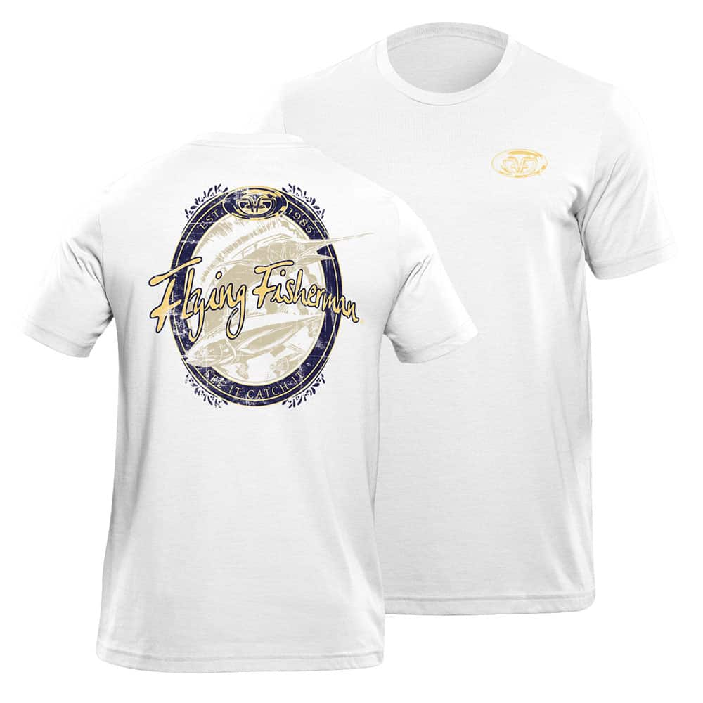 Flying Fisherman Beer Lable Tee White