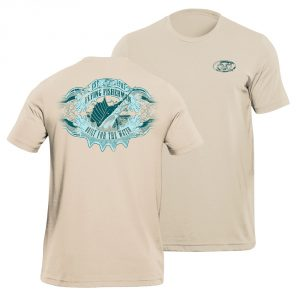 Flying Fisherman Cigar Label Tee Sand