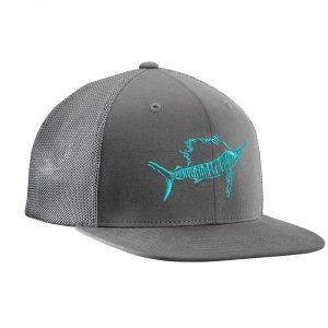Flying Fisherman Sailfish Fitted Trucker Hat Graphite