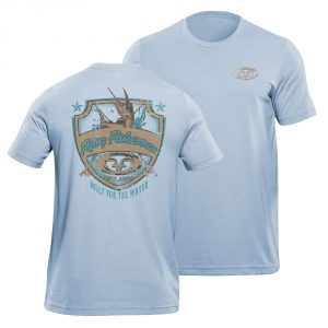Flying Fisherman Sheild Tee Blue Triblend
