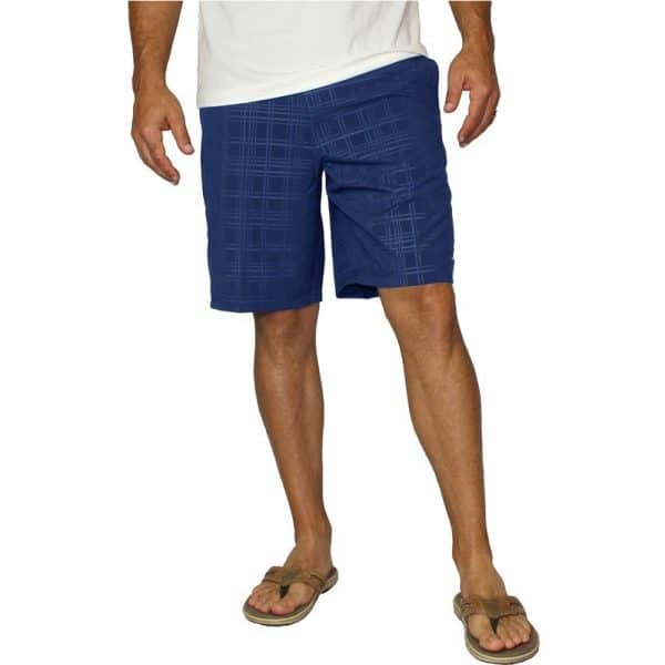 Mojo Plaid Tec Board Shorts Nautical Nav