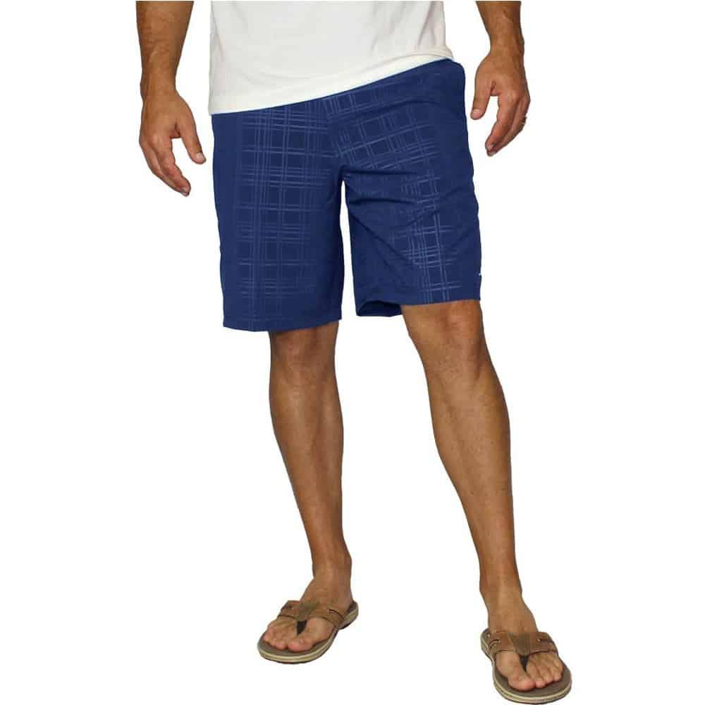 Mojo Plaid Tec Board Shorts Nautical Nav